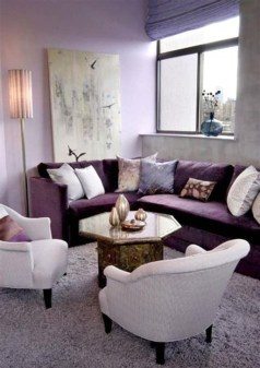Cute Purple Living Room Design You Will Totally Love 22