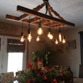 Magnificient Farmhouse Ladder Chandelier Ideas 34