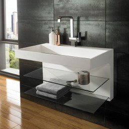 Perfect Glass Shelves Ideas For Bathroom Design 03