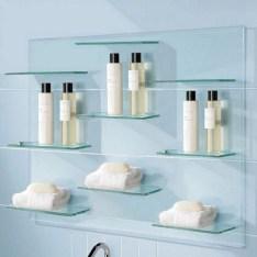 Perfect Glass Shelves Ideas For Bathroom Design 16