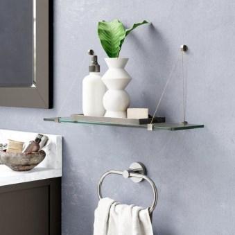 Perfect Glass Shelves Ideas For Bathroom Design 19