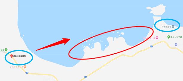 「丹後松島展望所」から「平海海水浴場」を見た地図
