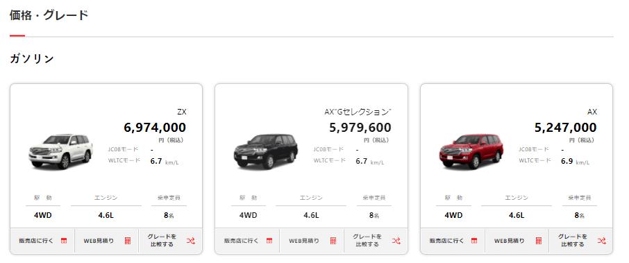 トヨタ・ランドクルーザーの価格とグレード画像