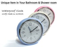 Bathroom Mirror Suction Clock Shower Room Clock Waterproof