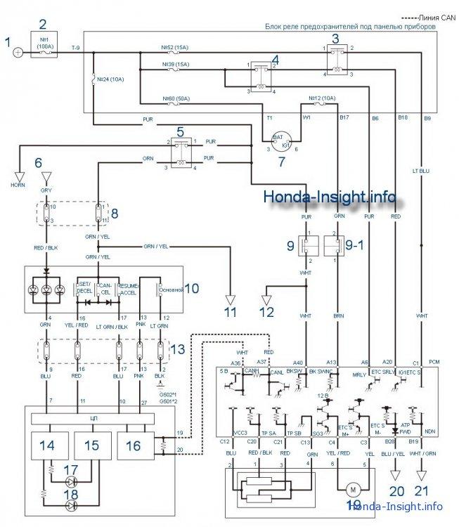 Honda Insight 2: электрическая схема цепи круиз-контроля