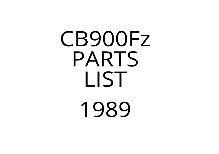 Honda CB900F(z) Parts List has been added!