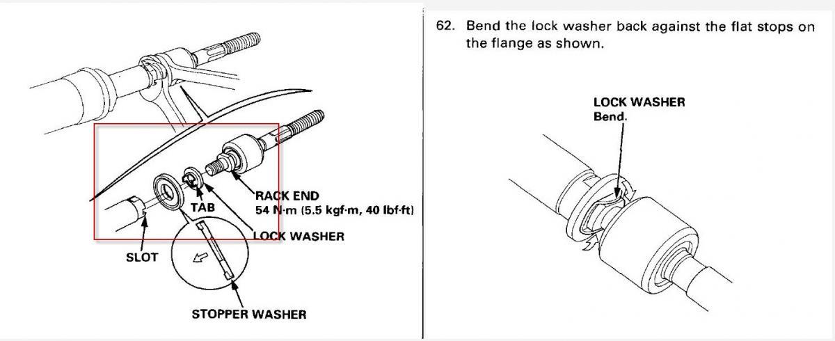 1997 Honda Accord V6 Inner Tie Rod Question, Torque Specs