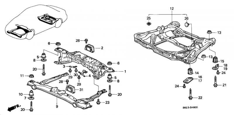 Replacement of Damaged Crossmember 1998 Honda Accord