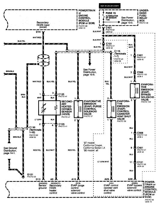 98 honda civic o2 sensor wiring diagram