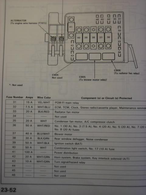 1987 Acura Integra Fuse Diagram