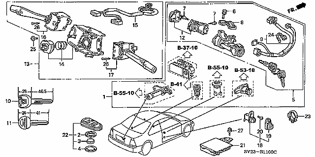 1996 Honda Accord Ignition Switch Wiring Diagram : 48