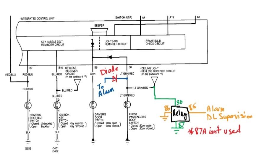 vehicle alarm wiring diagram stem and leaf key light data 99 civic dx hatchback install door trigger honda tech system