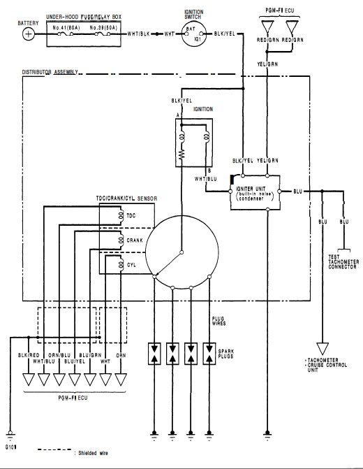 wiring diagram for the ignition system  hondatech  honda