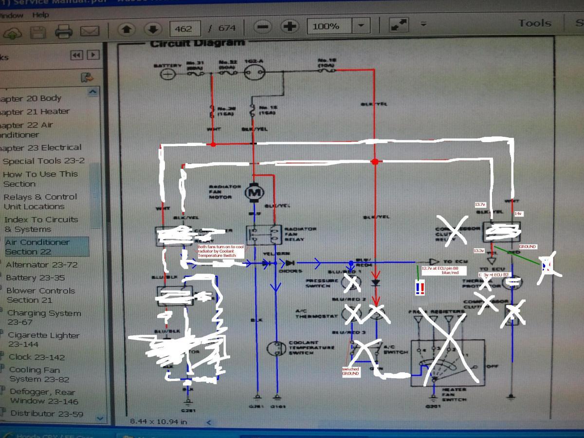91 Crx Dx W B16 Radiator Fan Relay Wiring Help Pics Hondatech ... Fan Relay Wiring Diagram Honda on