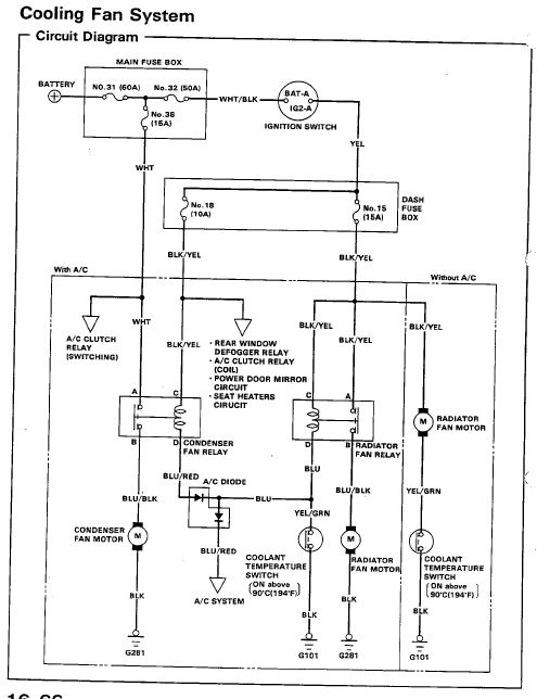 1991 honda civic cooling fan wiring  auto wiring diagrams