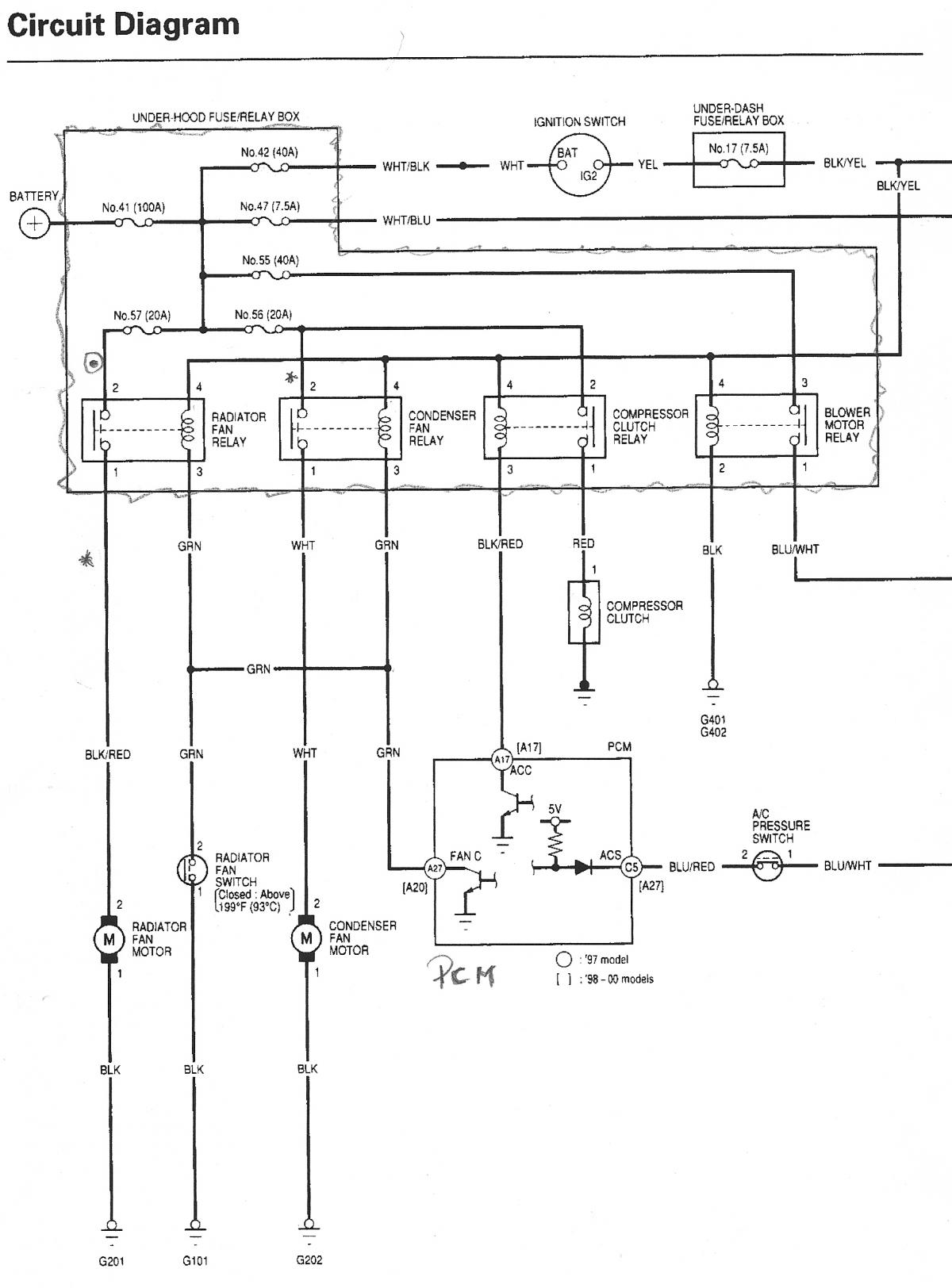 1995 honda civic ac wiring diagram 2002 isuzu rodeo del sol cooling fan relay location get free image