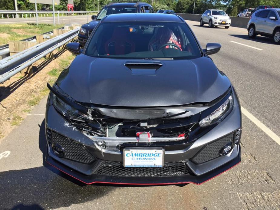 Honda-tech.com 2017 Honda Civic Type R rear ended wrecked leaving dealer