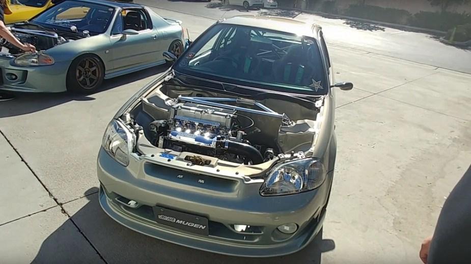 1999 EK Civic Hatch Mugen Build Aero Kit MF10 Wheels Brakes K20 Swap
