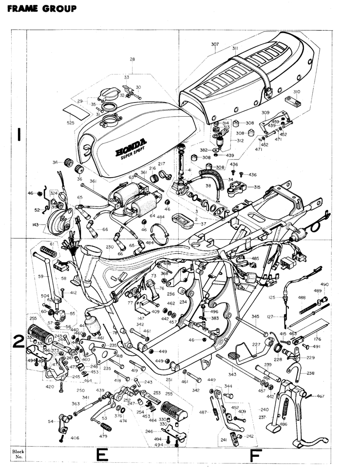 honda cb400f engine and frame diagrams plus parts list
