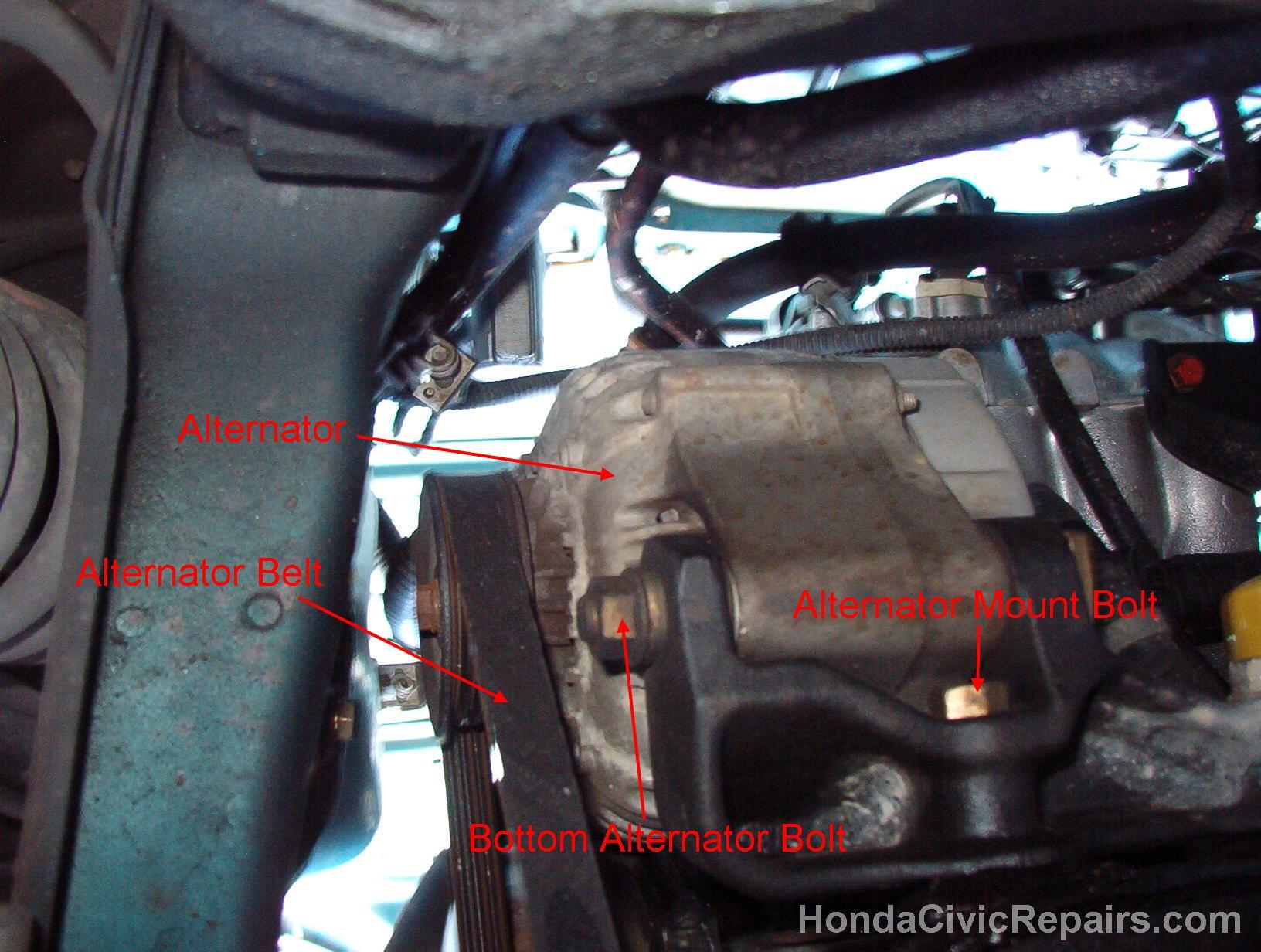 hight resolution of bottom view of alternator honda civic ex 1998
