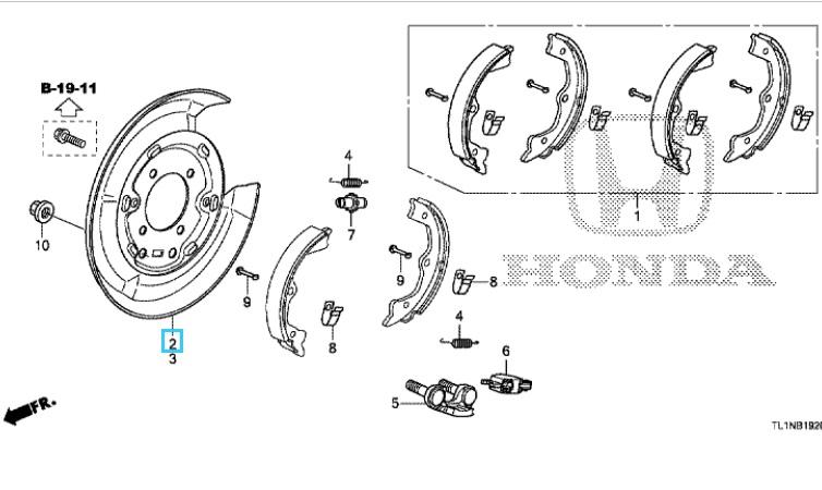 Honda Accord 2009-2015 Offside Rear Brake Backing Plate