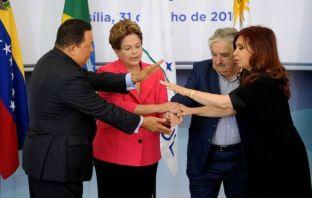 AFP Image caption Líderes de la izquierda de Venezuela, Brasil, Uruguay y Argentina fueron una vez una fuerza unida.