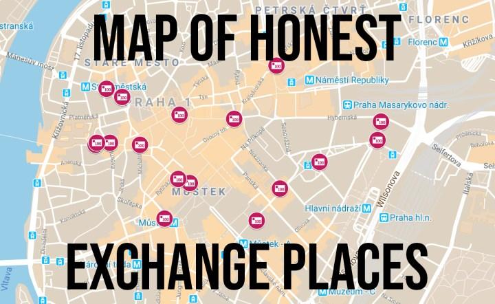 MAP OF HONEST EXCHANGE PLACES – Prague