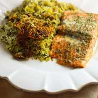 Herbed Rice with Salmon (Sabzi Polo baa Maahi)