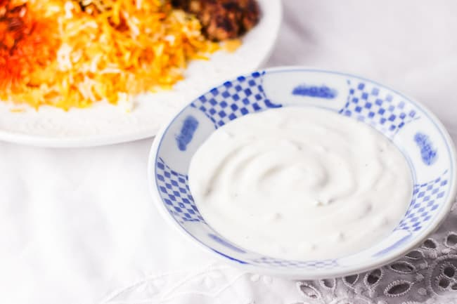 Yogurt with Shallot Dip (Maast o Moosir)