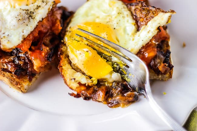 Fried Eggs with Charred Tomatoes and Caramelized Onions