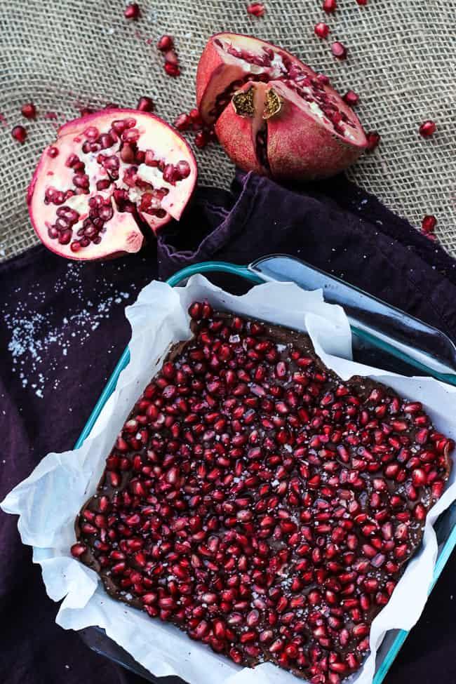 Salted Pomegranate Chocolate Fudge-12