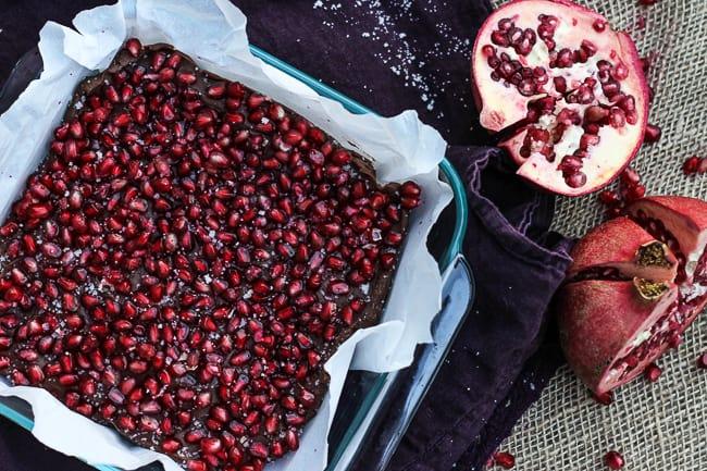 Salted Pomegranate Chocolate Fudge-3