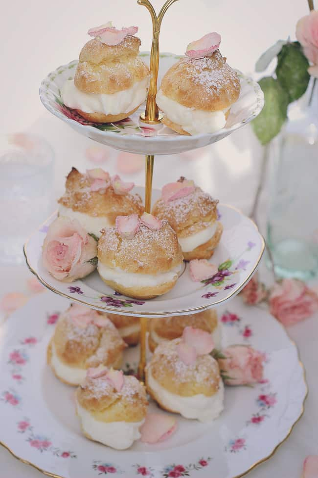 Rosewater Cream Puffs with Sugared Rose Petals-40