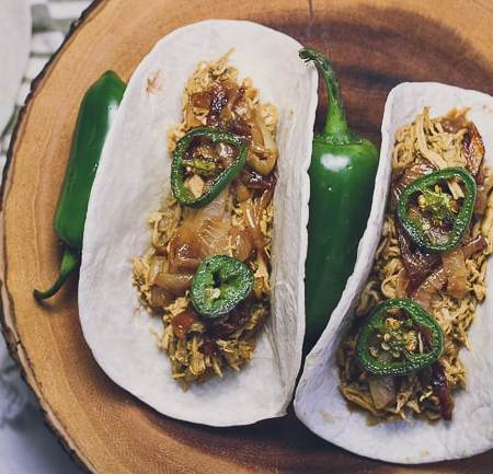 Juicy Pulled Chicken Tacos with Caramelized Onions & Charred Jalapeños