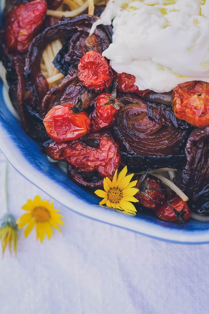 roasted tomato onion avocado burrata pasta-22