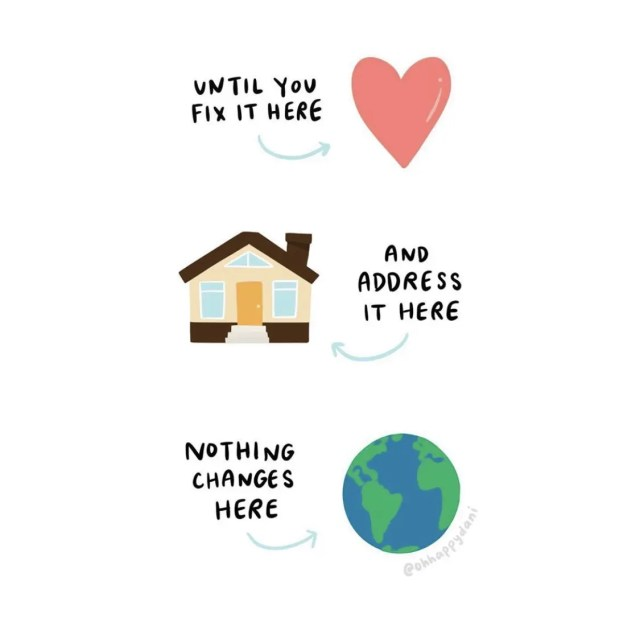 Graphic from @ohhappydani on Instagram. Heart, home and world.