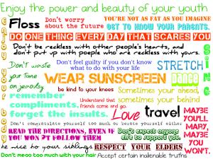 wear sunscreen colourful lyrics