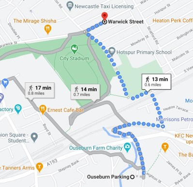 Directions from Ouseburn Parking to Warwick Street