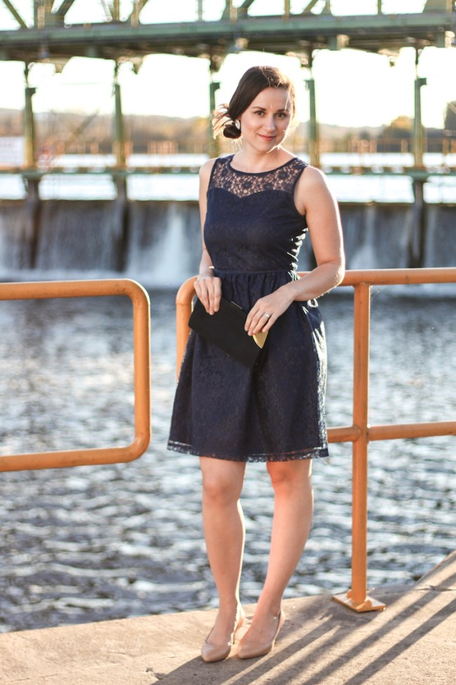 Navy dress full outfit