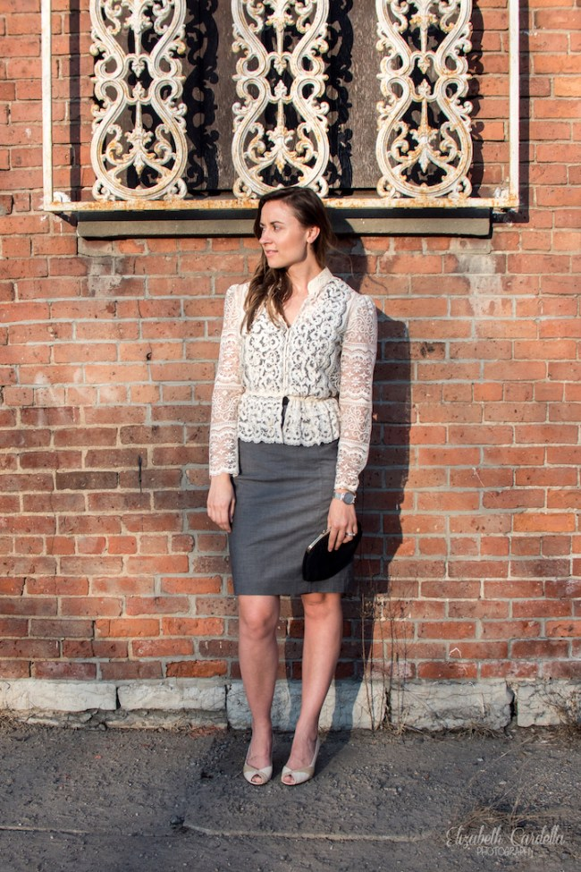 lace jacket with pencil skirt