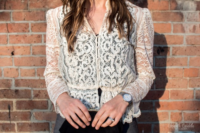 vintage lace jacket close up