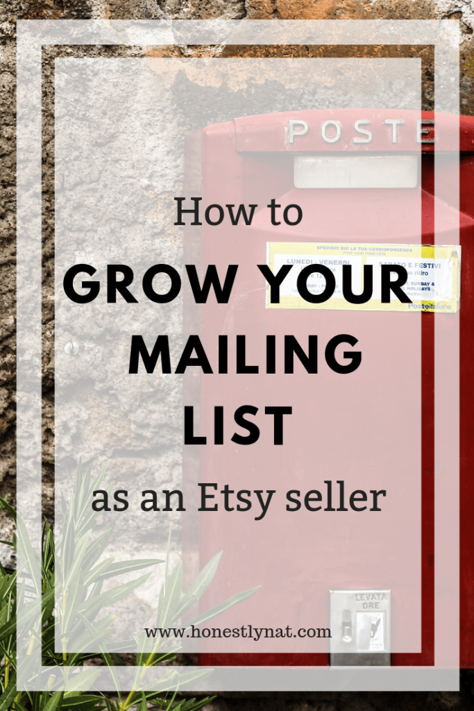 """Red English post box with the text overlay """"How to Grow your Mailing List as an Etsy Seller"""""""