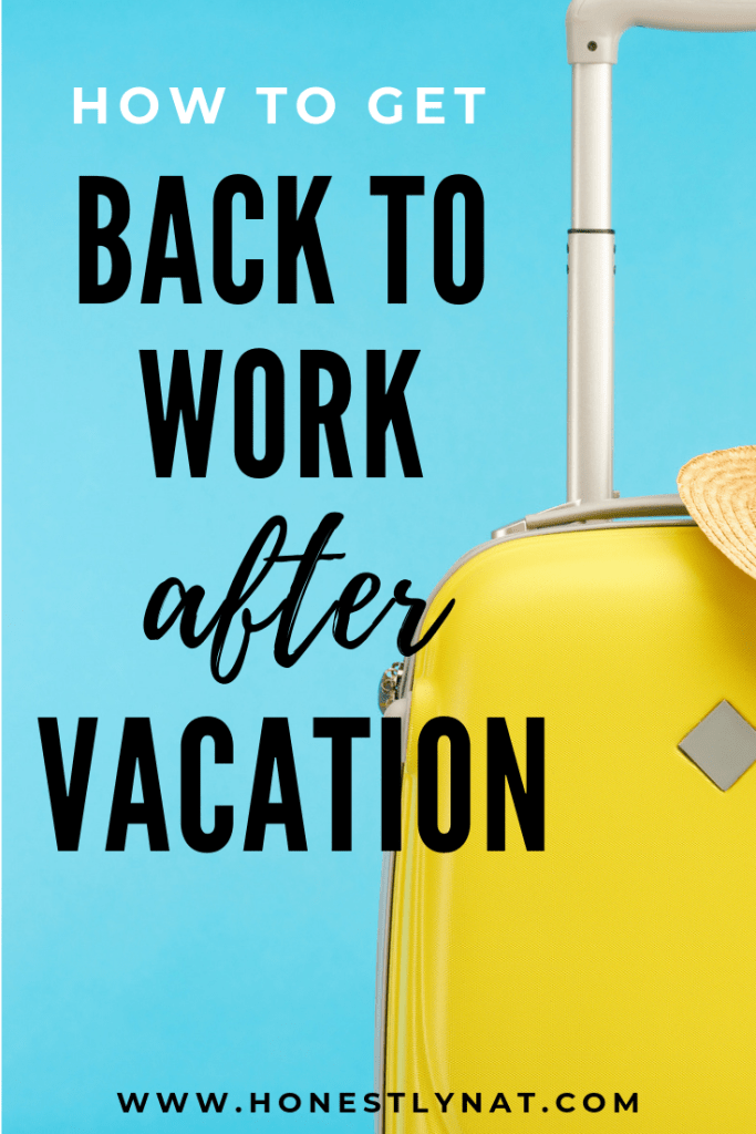 "Yellow suitcase with turquoise background and the text overlay ""How to get back to work after vacation"""