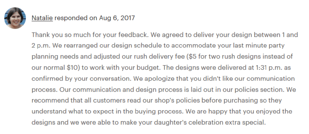 Sample response to a one star Etsy review