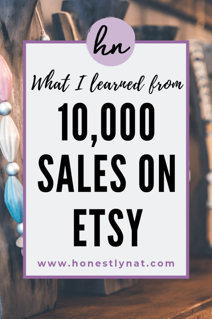 "Handmade necklaces with the text overlay ""What I learned from 10,000 sales on Etsy"""