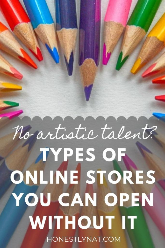 "Colored pencils shaped in a heart with the text overlay ""No artistic talent?  Types of online stores you can open without it"""