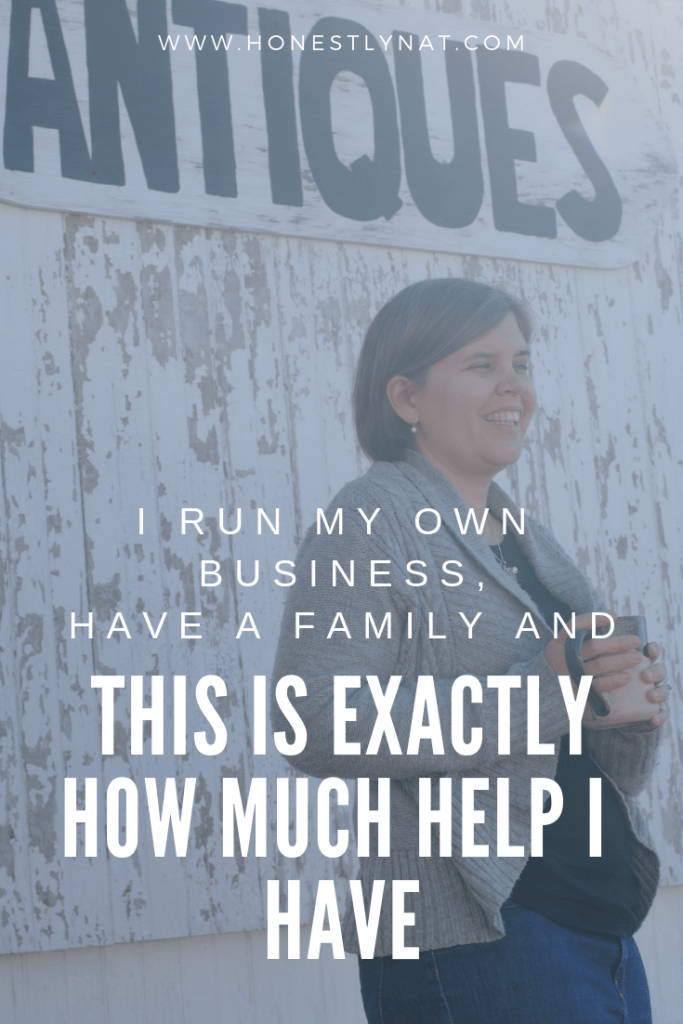 """Woman holding coffee cup under Antiques sign with the text overlay """"I run my own business, have a family and this is exactly how much help I have"""""""