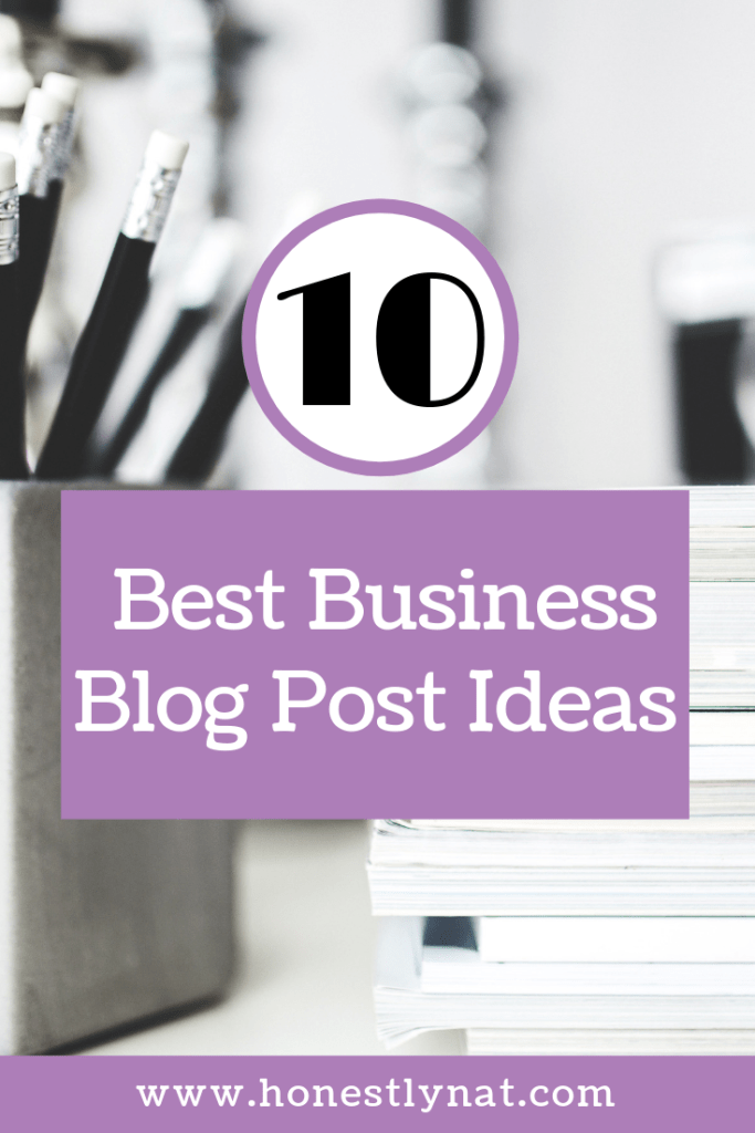 "Closeup of stack of magazines and black pencils with the text overlay ""10 Best Business Blog Post Ideas"""