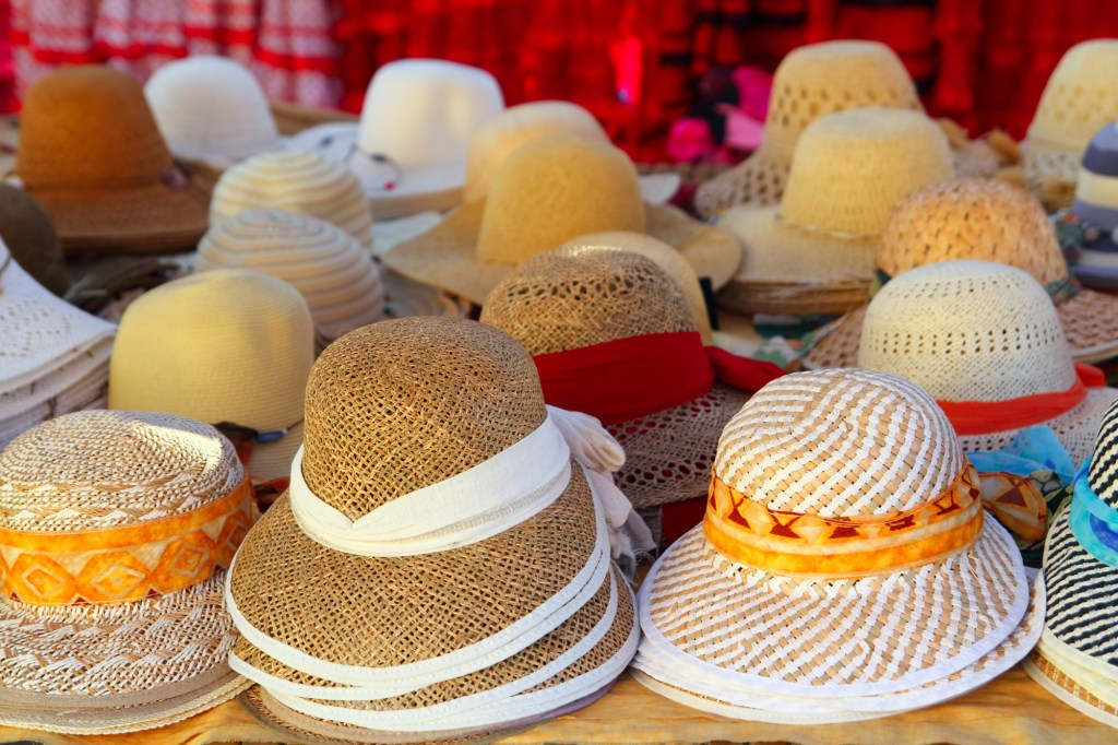 hats displayed in craft shop