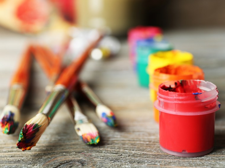 Art materials on a desk